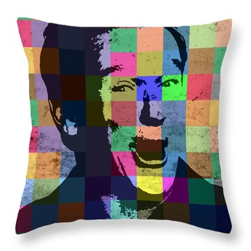 Robin Williams Actor Hollywood Pop Art Patchwork Portrait Pop Of Color Throw Pillow