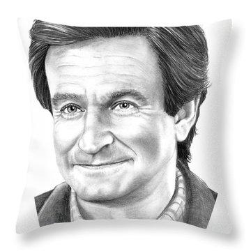 Robin Williams Throw Pillow by Murphy Elliott