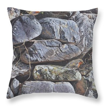 Throw Pillow featuring the painting Robins by Alan M Hunt