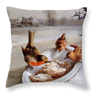 Robins And Wrens  Winter Breakfast Throw Pillow