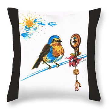 Robins Day Tasks Throw Pillow by Teresa White