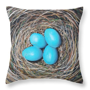 Robin's Eggs Throw Pillow