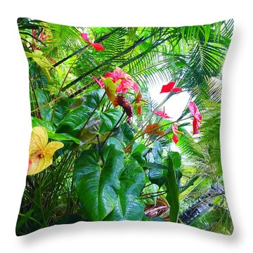 Robins Garden With Anthuriums And Ferns Throw Pillow