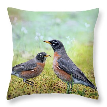 Throw Pillow featuring the photograph Robins, Heralds Of Spring by Bonnie Barry