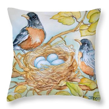 Robins Nest Throw Pillow