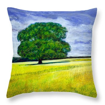 Throw Pillow featuring the painting Robin's Tree by Ron Richard Baviello