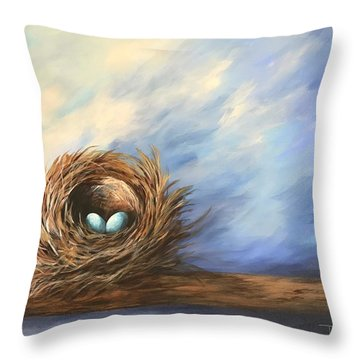 Robin's Two Eggs Throw Pillow