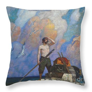 Robinson Crusoe Throw Pillow