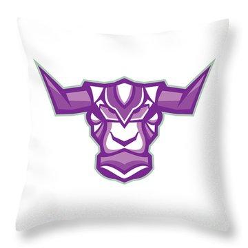Robot Yak Bull Head Front Throw Pillow
