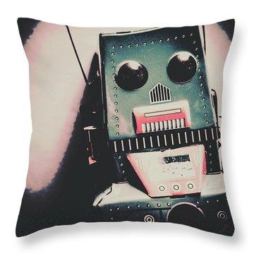 Robotic Mech Under Vintage Spotlight Throw Pillow
