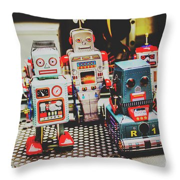 Robots Of Retro Cool Throw Pillow