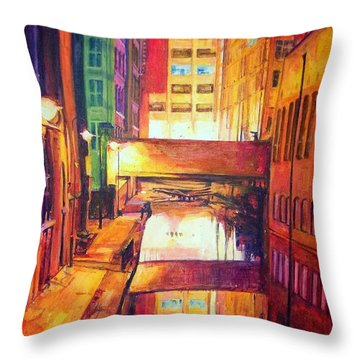 Rochdale Canal With Lock At Night Throw Pillow