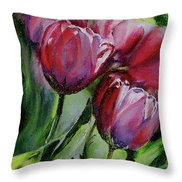 Rochelle's Springtime Tulips Throw Pillow