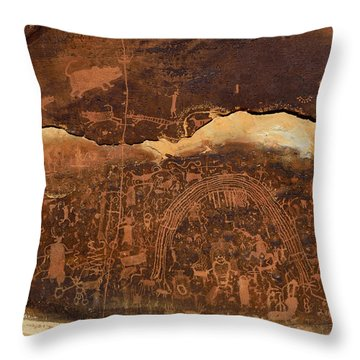 Rochester Creek Petroglyph Panel 1 Throw Pillow