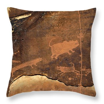 Rochester Creek Petroglyph Panel Animals Throw Pillow