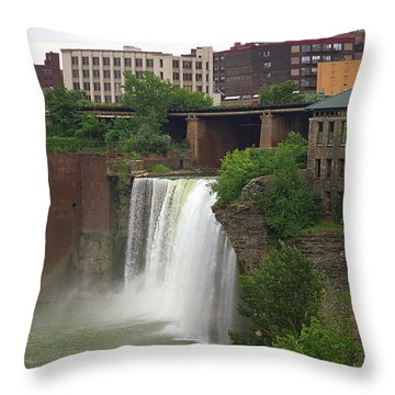 Throw Pillow featuring the photograph Rochester, New York - High Falls 2 by Frank Romeo