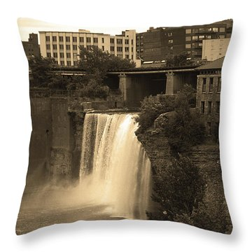 Throw Pillow featuring the photograph Rochester, New York - High Falls 2 Sepia by Frank Romeo
