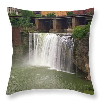 Throw Pillow featuring the photograph Rochester, New York - High Falls by Frank Romeo