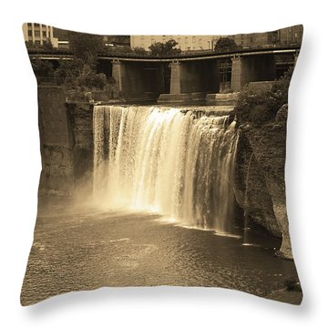 Throw Pillow featuring the photograph Rochester, New York - High Falls Sepia by Frank Romeo
