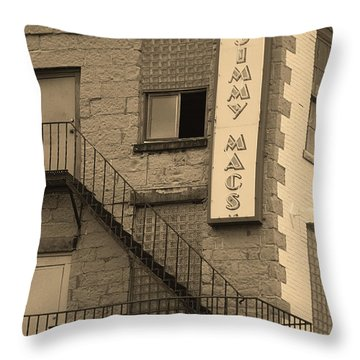 Throw Pillow featuring the photograph Rochester, New York - Jimmy Mac's Bar 2 Sepia by Frank Romeo