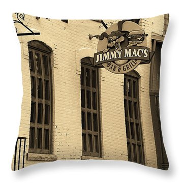 Throw Pillow featuring the photograph Rochester, New York - Jimmy Mac's Bar 3 Sepia by Frank Romeo
