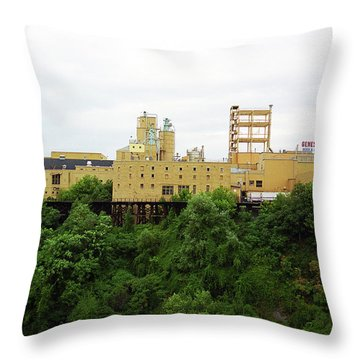 Throw Pillow featuring the photograph Rochester, Ny - Factory On A Hill by Frank Romeo
