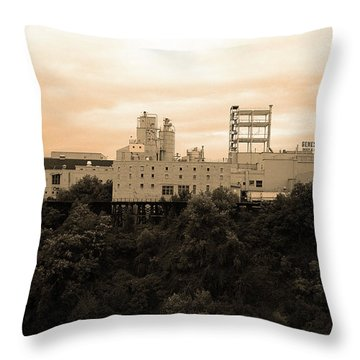 Throw Pillow featuring the photograph Rochester, Ny - Factory On A Hill Sepia by Frank Romeo