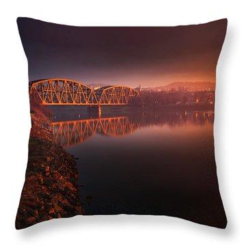 Rochester Train Bridge  Throw Pillow