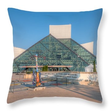 Rock And Roll Hall Of Fame I Throw Pillow by Clarence Holmes