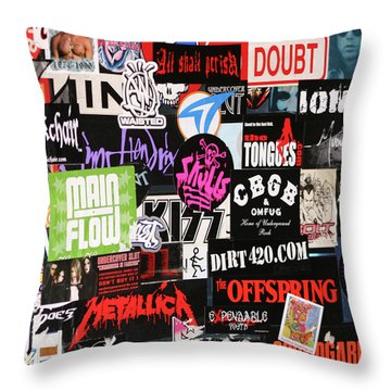 Rock And Roll Stickers Throw Pillow