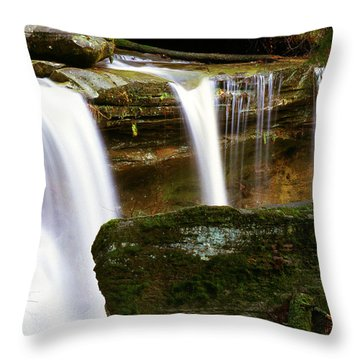 Rock And Waterfall Throw Pillow by Thomas R Fletcher