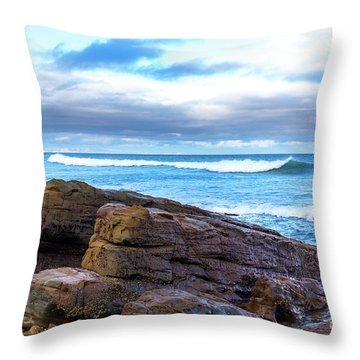 Throw Pillow featuring the photograph Rock And Wave by Perry Webster