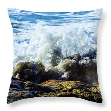 Wave Meets Rock Throw Pillow