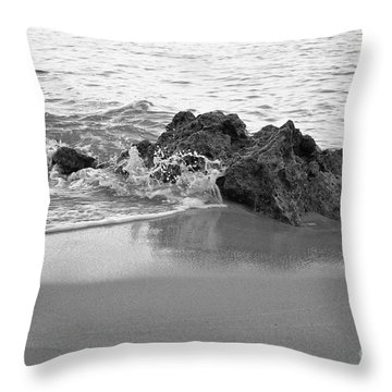 Rock And Waves In Albandeira Beach. Monochrome Throw Pillow