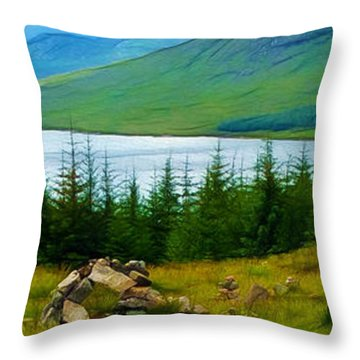 Rock Cairns In Scotland Throw Pillow