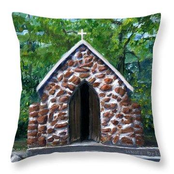 Rock Chapel Desoto Parish, Louisiana Throw Pillow by Lenora De Lude