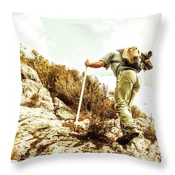 Rock Climbing Mountaineer Throw Pillow