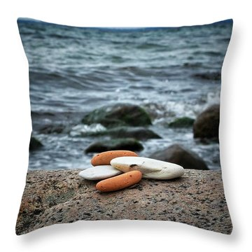 Throw Pillow featuring the photograph Rock Collection by Karen Stahlros