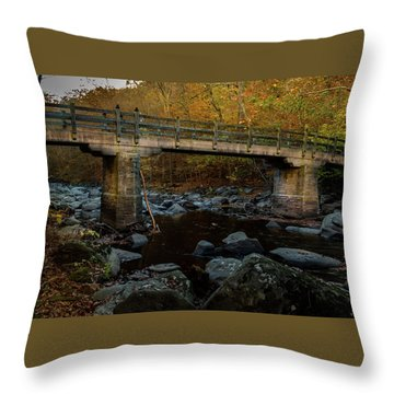 Throw Pillow featuring the photograph Rock Creek Park Bridge by Ed Clark