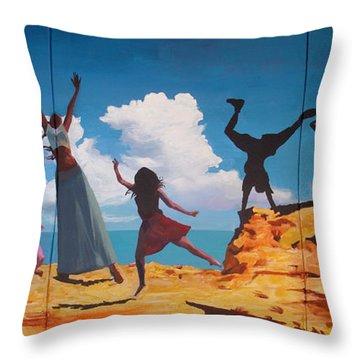 Rock Dancers Throw Pillow by Geoff Greene