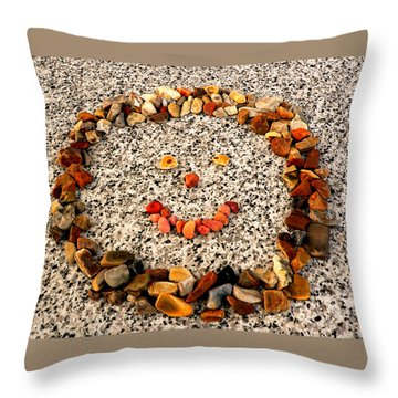 Rock Face On Granite Throw Pillow