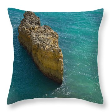 Rock Formation And The Sea In Algarve Throw Pillow