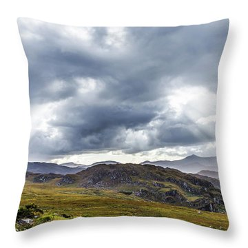 Throw Pillow featuring the photograph Rock Formation Landscape With Clouds And Sun Rays In Ireland by Semmick Photo