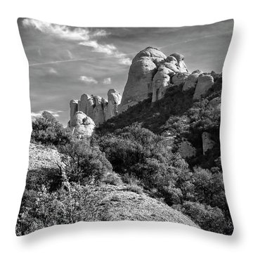 Rock Formations Montserrat Spain II Bw Throw Pillow