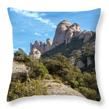 Rock Formations Montserrat Spain II Throw Pillow
