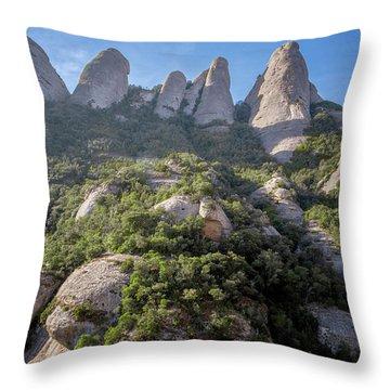 Rock Formations Montserrat Spain Throw Pillow