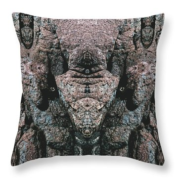 Throw Pillow featuring the digital art Rock Gods Elephant Stonemen Of Ogunquit by Nancy Griswold