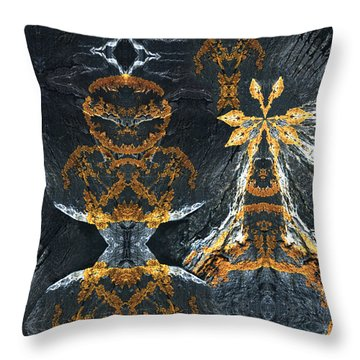 Throw Pillow featuring the digital art Rock Gods Lichen Lady And Lords by Nancy Griswold