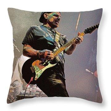 Rock Guitar Player Throw Pillow