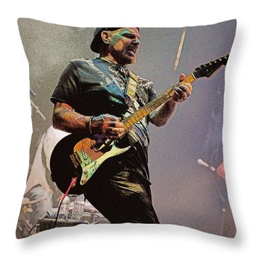 Rock Guitar Player Throw Pillow by Jim Mathis